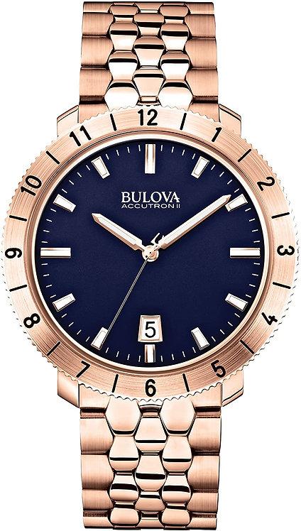 Bulova Accutron II Mens Stainless Steel Quartz Watch Gold