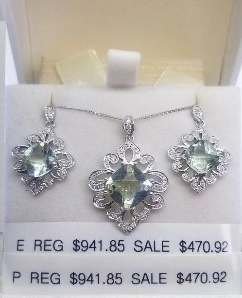 Diamond and Green Amethyst Earrings