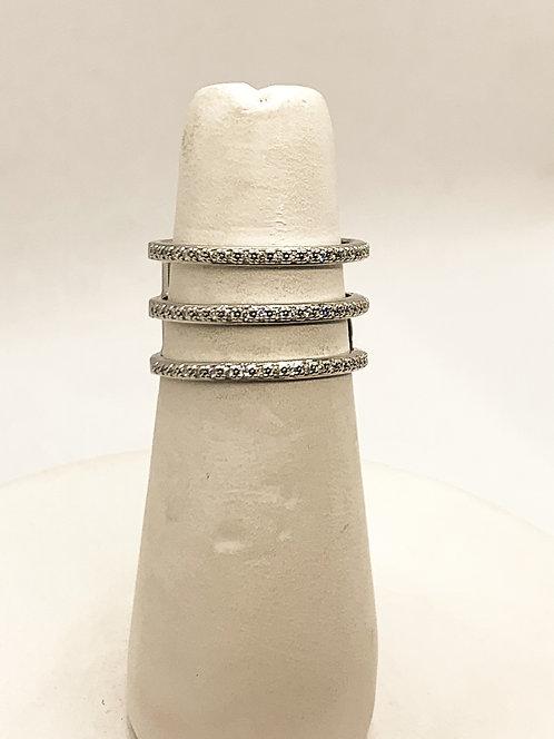 White Gold Diamond 3 Band Statement Ring