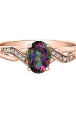 Rose Gold Mystic Topaz & Diamond Ring