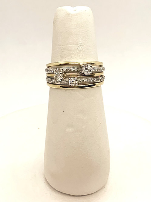 Yellow & White Gold Maple Leaf Diamond Dinner Ring