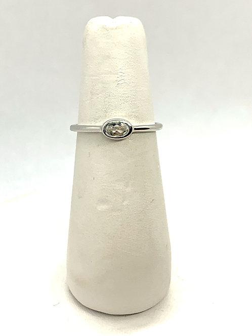 White Gold Oval White Topaz Ring GR879