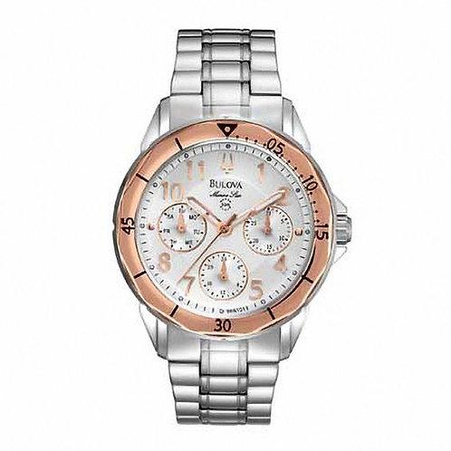 Ladies' Bulova Marine Star Two-Tone Watch with White Dial