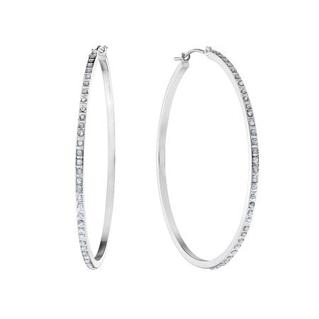 White Gold Hoop Earring CZ
