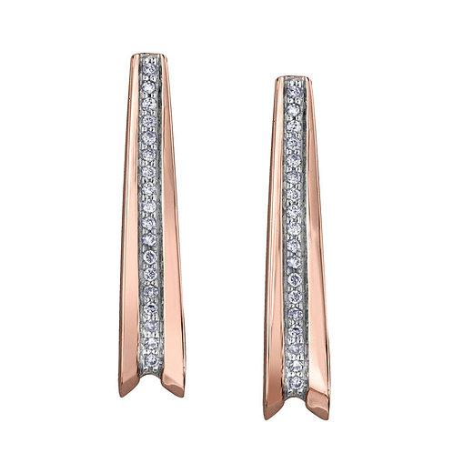 Rose Gold & Diamond Bar Earrings