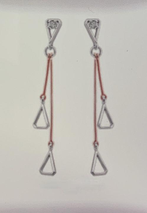 White & Rose Gold Drop Earrings w Canadian Diamonds