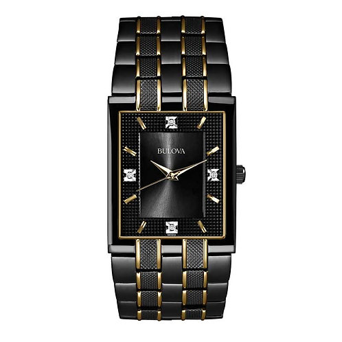 Men's Bulova Diamond Accent Two-Tone Watch with Rectangular Black Dial