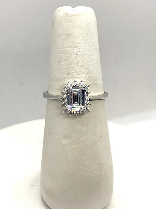White Gold Emerald Cut Cubic Zirconia Ring