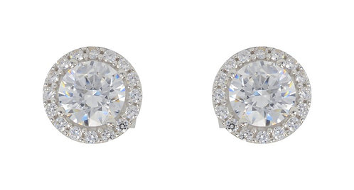 White Gold CZ w Halo Stud Earrings