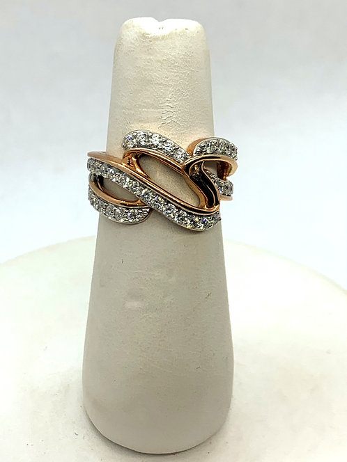 Rose & White Gold Diamond Waves Ring