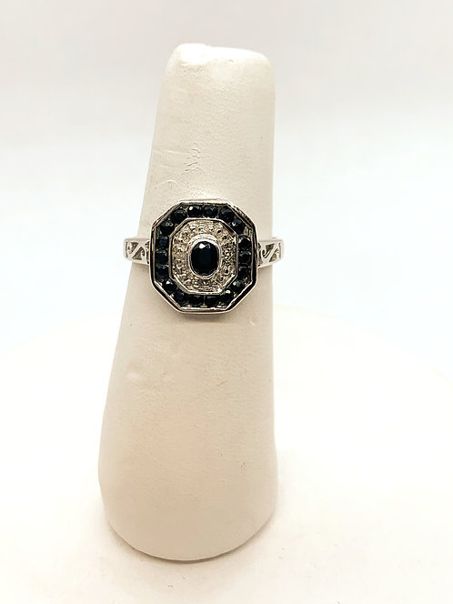 White Gold Black Sapphire & Diamond Ring