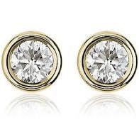 Yellow Gold Bezel .20CT Diamond Stud Earrings