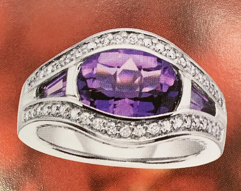 White Gold Amethyst & Diamond Ring