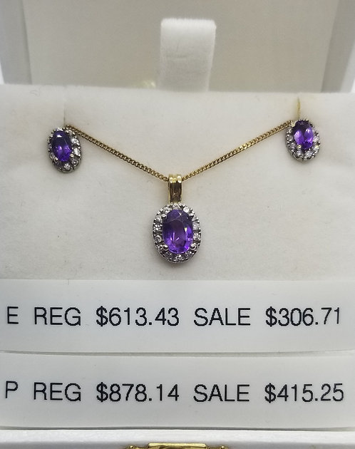 Diamond and Amethyst Earrings