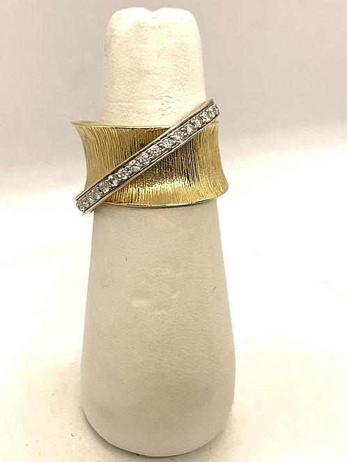 Yellow & White Gold Diamond Crossover Ring