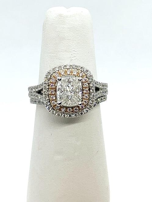 WGRG Illusion set diamond with double halo & matching wedding band