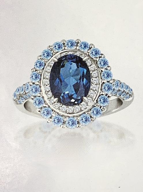 White Gold Blue Topaz & Diamond Double Halo Ring