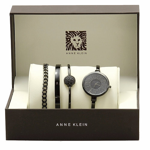 Black Bangle Analog Watch And 3-Piece Bracelet Set