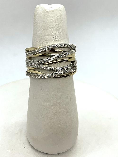 Yellow & White Gold Diamond Crisscross Dinner Ring
