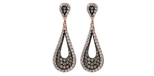 White & Rose Gold Diamond Drop Stud Earrings