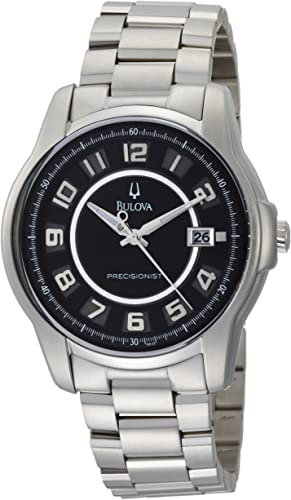 Bulova Mens Precisionist Claremont Black Dial Steel Watch Band