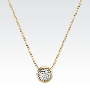 Yellow Gold Bezel .04CT Diamond Solitaire Pendant