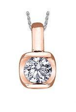 Rose Gold Tension Set .15CT Canadian Diamond Pendant
