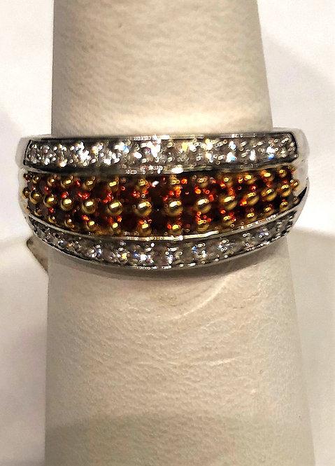 White Gold Multi Row Colored Diamonds Ring