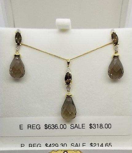 Diamond and Smokey Quartz Earrings