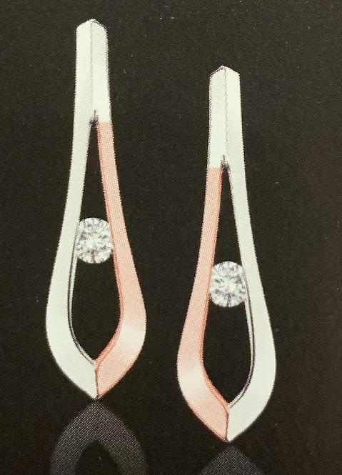 White & Rose Gold Canadian Diamond Stud Earrings