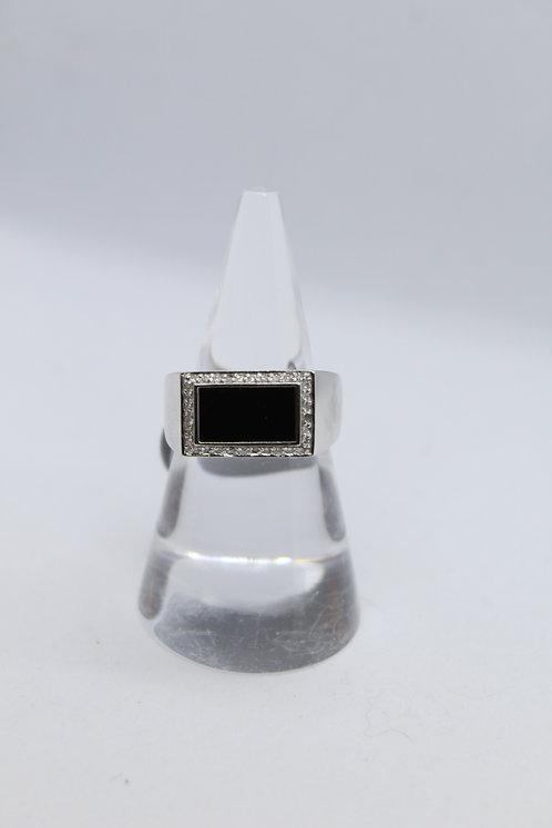 Mens Diamond Onyx Ring