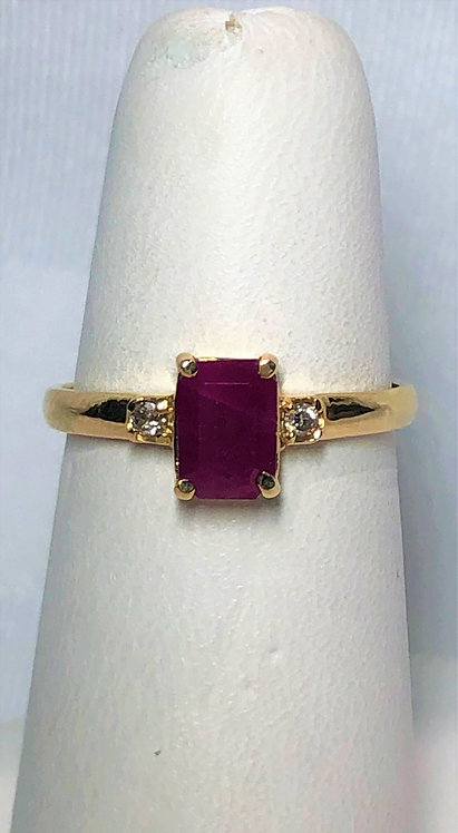 Yellow Gold Ruby & Diamond Accent Ring
