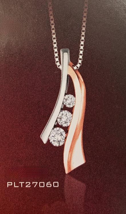 White & Rose Gold 3 stone Diamond Pendant