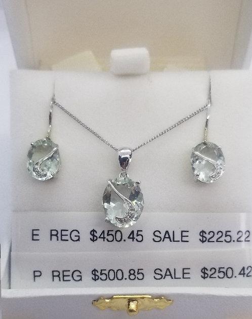 Diamond and Green Amethyst Pendant