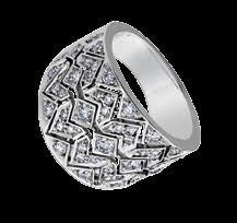 White Gold Diamond Chevron Dinner Ring