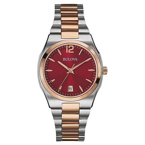 Ladies' Bulova Two-Tone Watch with Red Dial