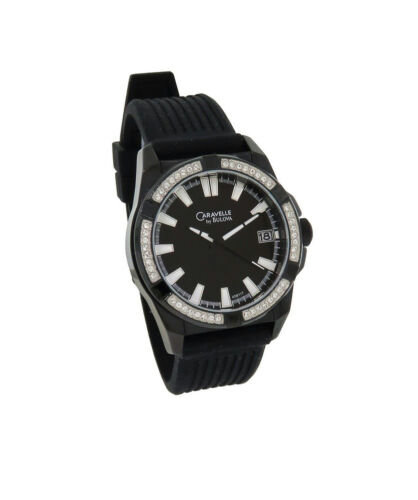 Caravelle Men's Black Analog Date Silicone Clear Crystal Watch
