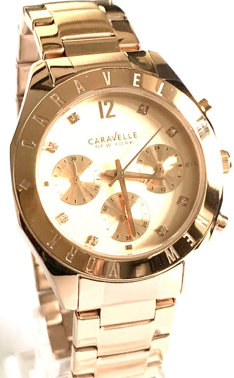 Caravelle New York Ladies Boyfriend Rose Gold Chronograph Watch