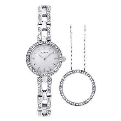 Ladies' Bulova Watch with Mother-of-Pearl Dial Boxed Watch and Pendant Set