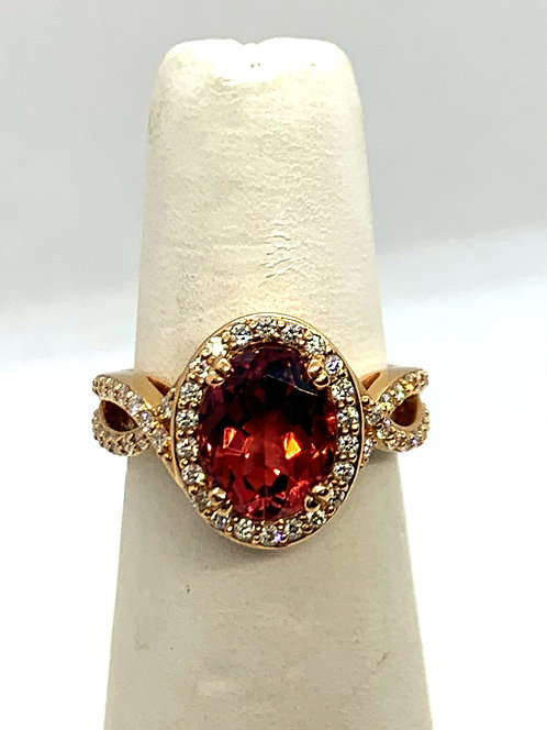 Rose Gold Diamond & Pink Tourmaline Dinner Ring