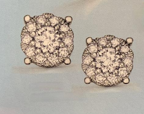 White Gold Halo Setting Diamond Earrings