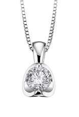 Palladium White Gold Half moon .20CT Diamond Solitaire Pendant