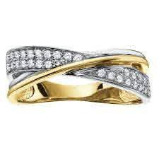 Yellow & White Gold Diamond Cross over Band