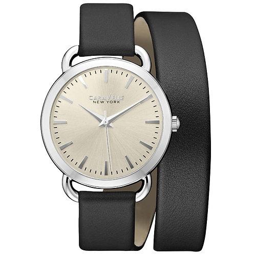 Bulova Caravelle New York Woman Analog Display Japanese Quartz Watch Black