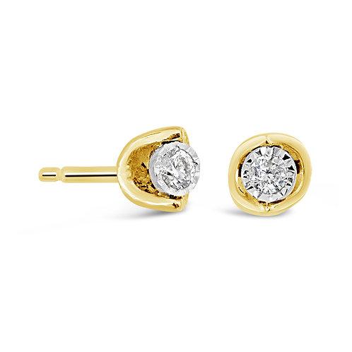 Yellow Gold Half Moon Mount .20CT Diamond Stud Earrings
