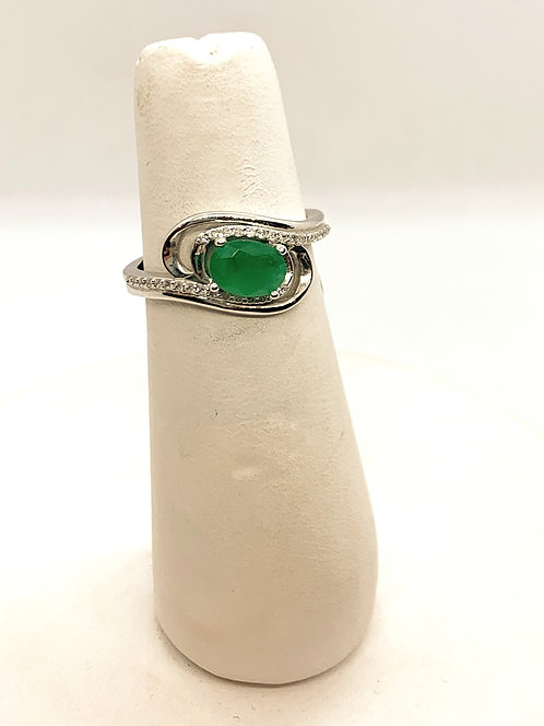 White Gold Emerald & Diamond Ring DR2988