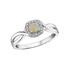 White Gold Opal & Diamond Halo Ring DR3266