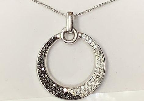 White Gold Black & White Diamond Circle Pendant