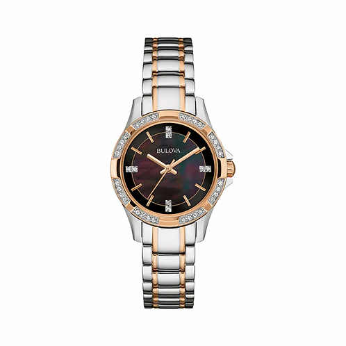 Bulova Two-Tone Stainless Black MOP Watch