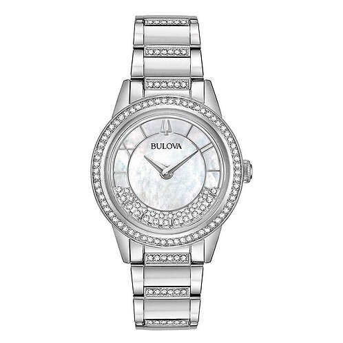 Bulova Women's Crystal TurnStyle Watch In Stainless Steel